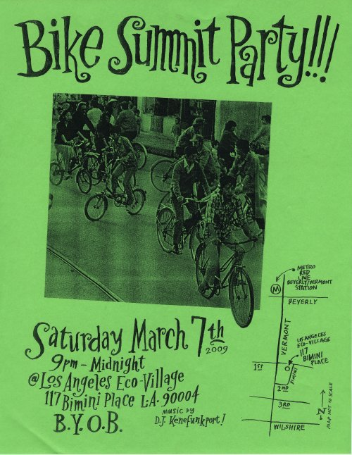 Bike Summit Party flier