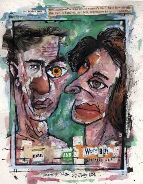 "Man and Woman, 20 July 1996, ink, watercolor, collage on paper, 9""x7.5"""