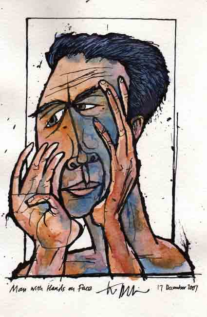 "Man with Hands on Face, 17 December 2007, ink and watercolor on paper, 10""x6"""