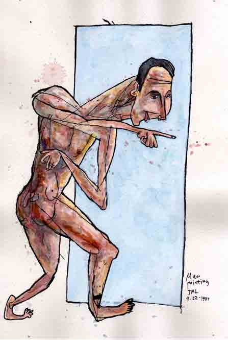 "Man Pointing, 9-22-1997, ink and watercolor on paper, 9""x6"""