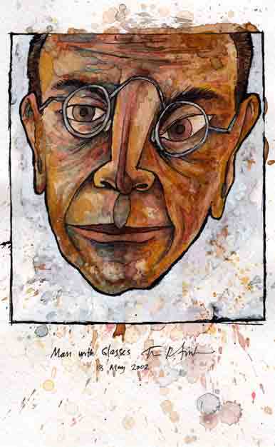 "Man with Glasses, 13 May 2002, ink and watercolor on paper, 8""x5"""