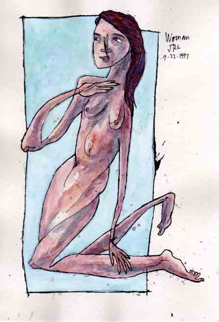 "Woman, 9.22.1997, ink and watercolor on paper, 9""x6"""