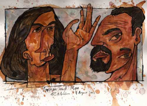 "Woman and Man, 11 August 2002, ink and watercolor on paper, 9""x12"""