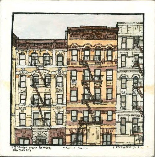 "3rd Street near Bowery, New York City, ink and watercolor on paper, 1 December 2012, 8""x8"""