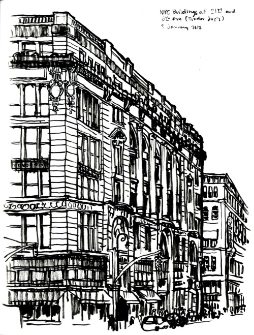 "NYC Building at 21st and 6th Avenue - brush pen on paper in Sketchbook No. 65, 3 January 2013, about 8.5""x11"""