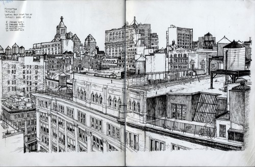 "Manhattan skyline looking east from top of Carrie's work at SVA, ink on paper in sketchbook, 8-30 January 2013, about 11""x17"""