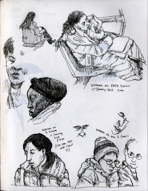 "Sketches of folks riding transit, pen on paper in sketchbook, 11 January 2012, about 8.5""x11"""