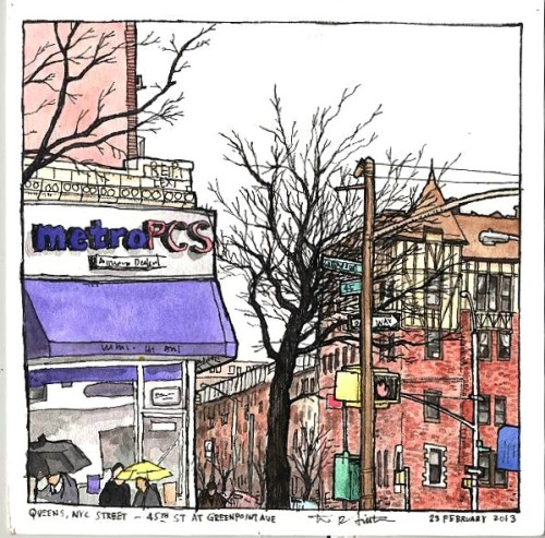 "Queens, NYC Street - 45th Street at Greenpoint Ave, ink and watercolor on paper, 23 February 2013, 6""x6"""