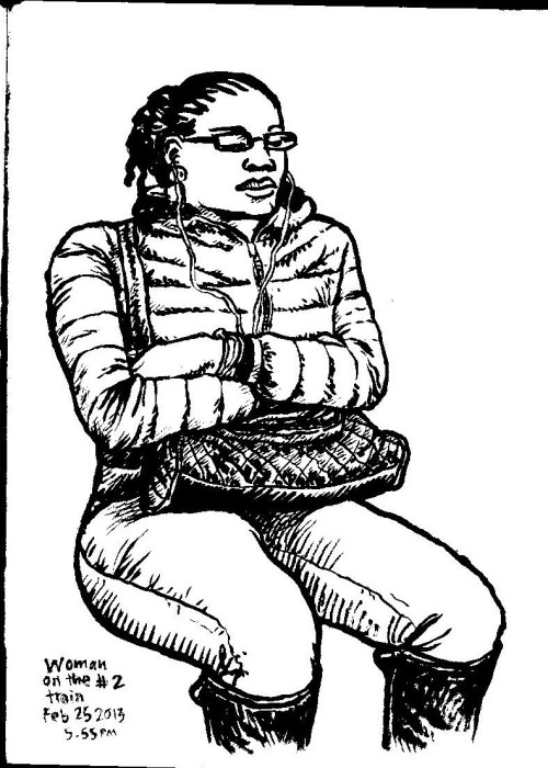 "Woman on the #2 Train, brush pen ink on paper in Sketchbook No. 65, 25 February 2013, about 8.5""x11"""